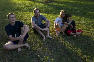 Dylan, Rocky, Summer, Julian in yard
